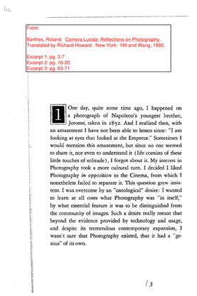 Barthes, Roland - Camera Lucida Excerpts 1