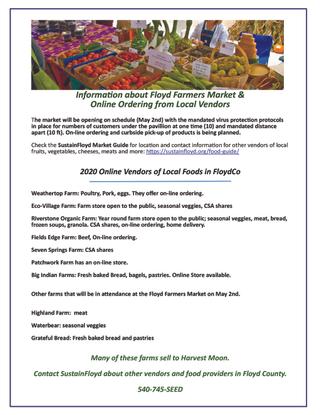 Market info and Floyd Food Vendors Online