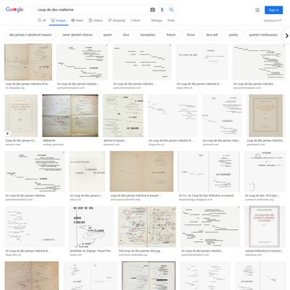coup de des mallarme - Google Search