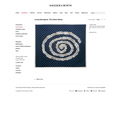 Exhibitions - Louise Bourgeois: The Fabric Works - List of works - Untitled - Hauser & Wirth