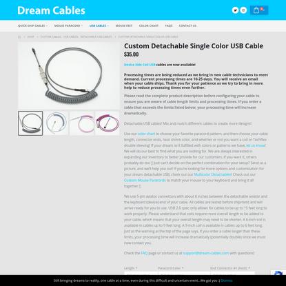Custom Detachable Single Color USB Cable - Dream Cables