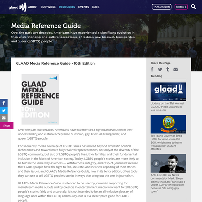GLAAD Media Reference Guide - 10th Edition
