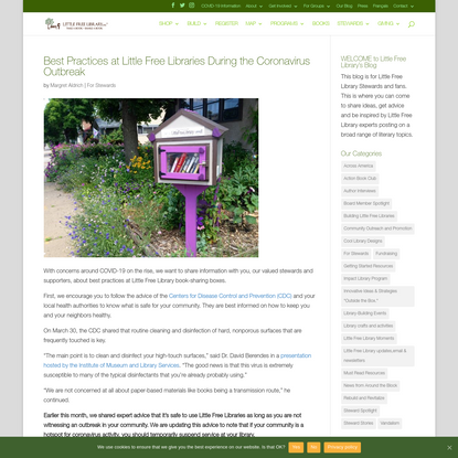 Best Practices at Little Free Libraries During the Coronavirus Outbreak - Little Free Library