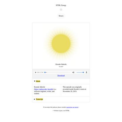Korede Aderele on HTML Energy