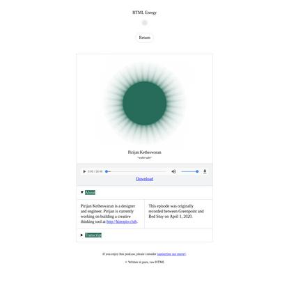 Pirijan Ketheswaran on HTML Energy