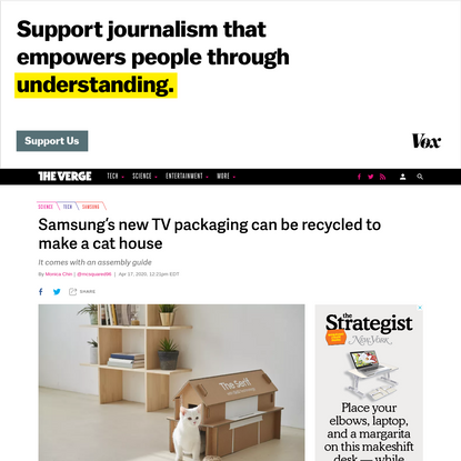 Samsung's new TV packaging can be recycled to make a cat house