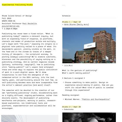 Experimental Publishing Studio at RISD