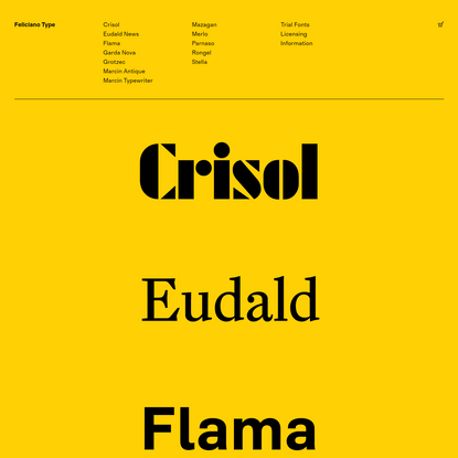 Feliciano Type - Quality fonts for print and web since 2001