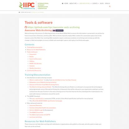 Tools & software - IIPC