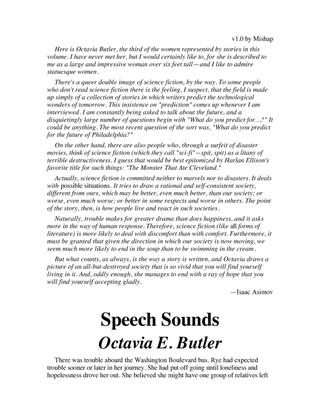 Speech Sounds (short story) by Octavia Butler