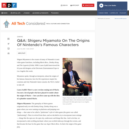Q&A: Shigeru Miyamoto On The Origins Of Nintendo's Famous Characters