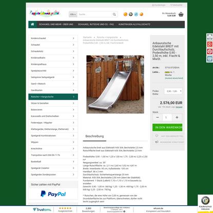 Anbaurutsche Edelstahl BREIT mit Durchlaufschutz, Podesthöhe 0,90 - 2,50 m, inkl. Fracht & MwSt.