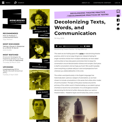 Decolonizing Texts, Words, and Communication