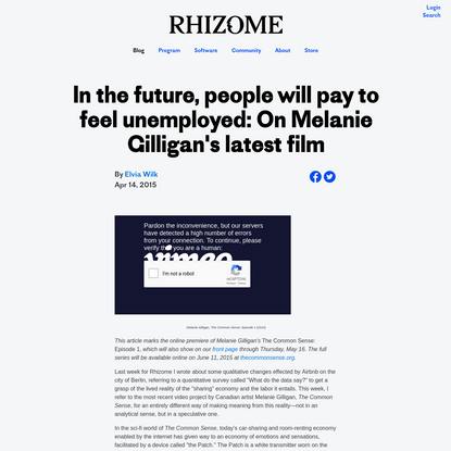 In the future, people will pay to feel unemployed: On Melanie Gilligan's latest film