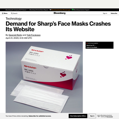 Demand for Made-by-Sharp Face Masks Hits Web-Linked Litter Boxes - Bloomberg