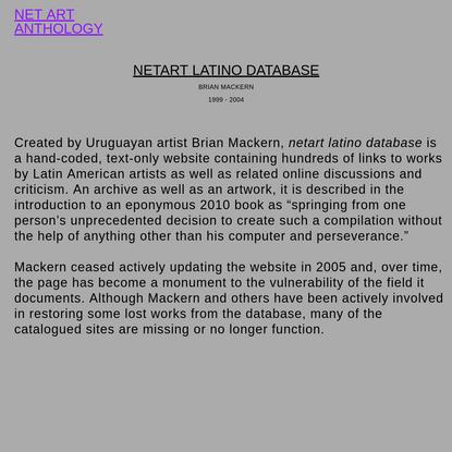 NET ART ANTHOLOGY: netart latino database