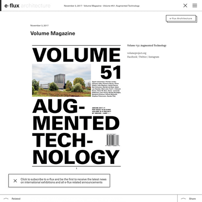 Volume #51: Augmented Technology - Announcements - e-flux