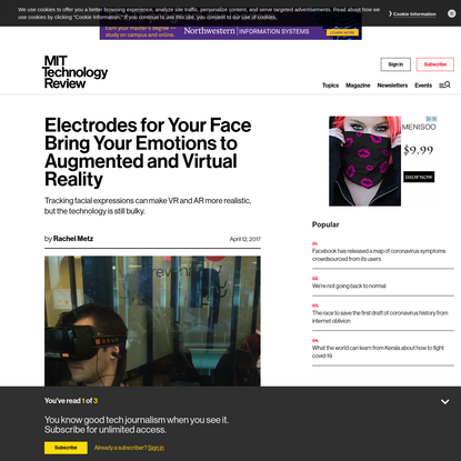 Electrodes for Your Face Bring Your Emotions to Augmented and Virtual Reality