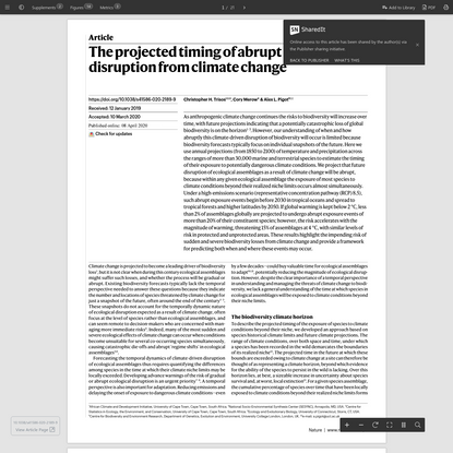 The projected timing of abrupt ecological disruption from climate change