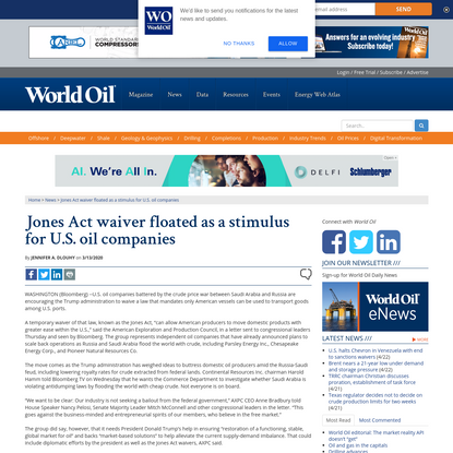 Jones Act waiver floated as a stimulus for U.S. oil companies