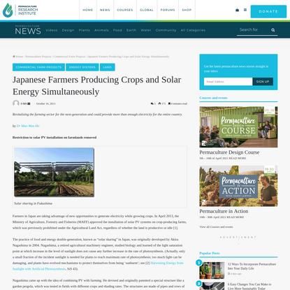 Japanese Farmers Producing Crops and Solar Energy Simultaneously - The Permaculture Research Institute