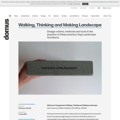 Walking, Thinking and Making Landscape