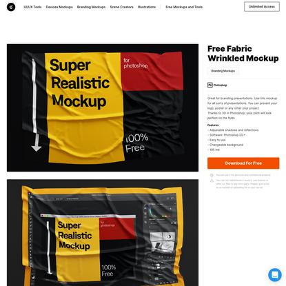 Free Fabric Wrinkled Mockup | LS Graphics