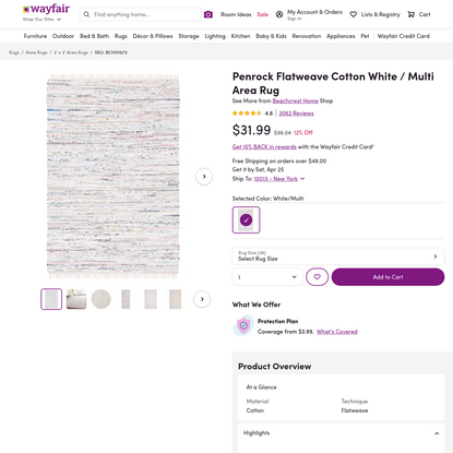Beachcrest Home Penrock Flatweave Cotton White / Multi Area Rug | Wayfair