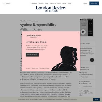 William Davies · Against Responsibility · LRB 8 November 2018