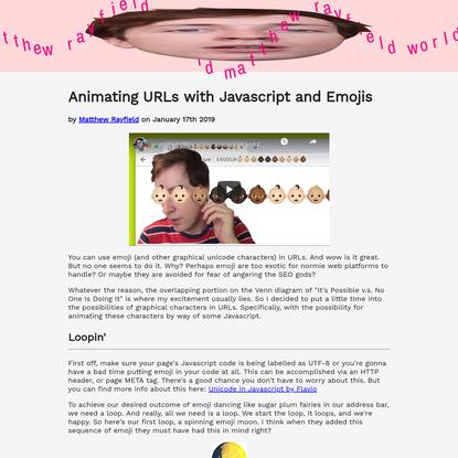 Animating URLs with Javascript and Emojis
