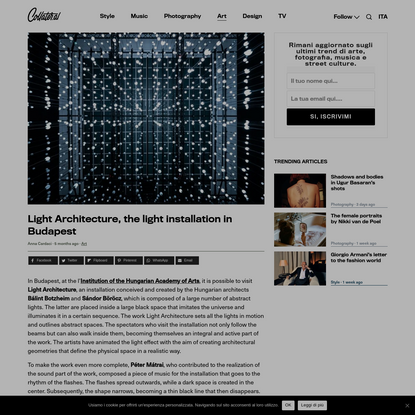 Light Architecture, the light installation in Budapest | Collater.al
