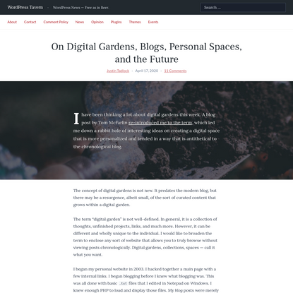 On Digital Gardens, Blogs, Personal Spaces, and the Future