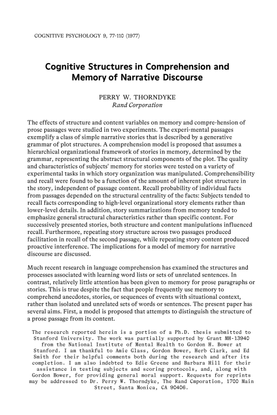 Thorndyke, Perry W. 'Cognitive Structures in Comprehension and Memory of Narrative Discourse'. Cognitive Psychology 9, 77-110 (1977)