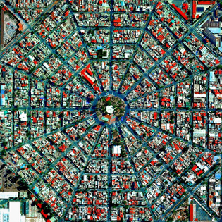"""""""Radiating streets surround the Plaza Del Ejecutivo in the Venustiano Carranza district of Mexico City, Mexico. This district — which is home to more than 430,000 people — contains three of Mexico City's large traditional markets, including La Merced, Mercado de Sonora, and Mercado Jamaica."""""""