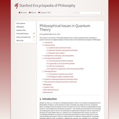 Philosophical Issues in Quantum Theory