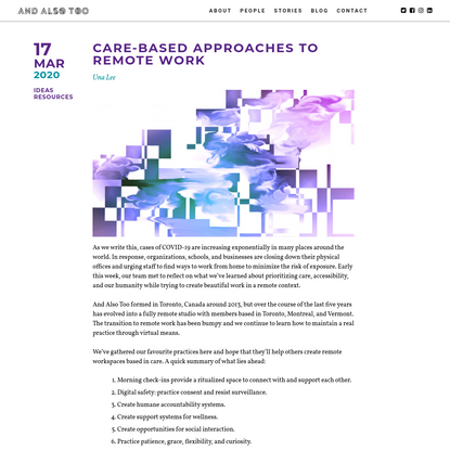 Care-based approaches to remote work