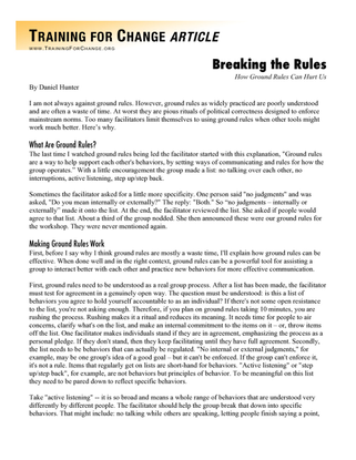 How Ground Rules can Hurt Us