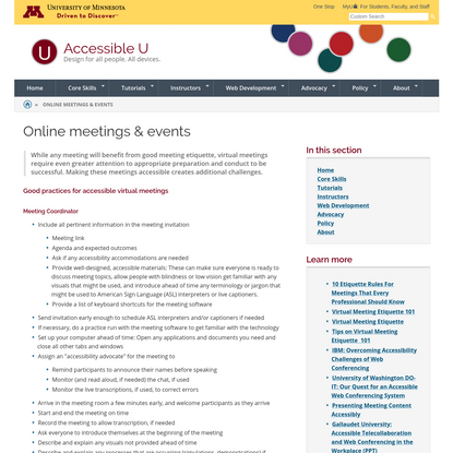 Good Practice for Accessible Online Meetings