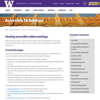 Hosting accessible online meetings