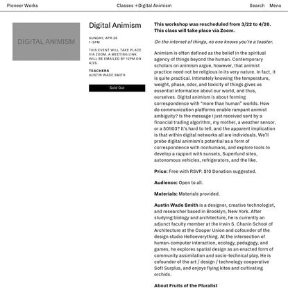 Digital Animism | Pioneer Works