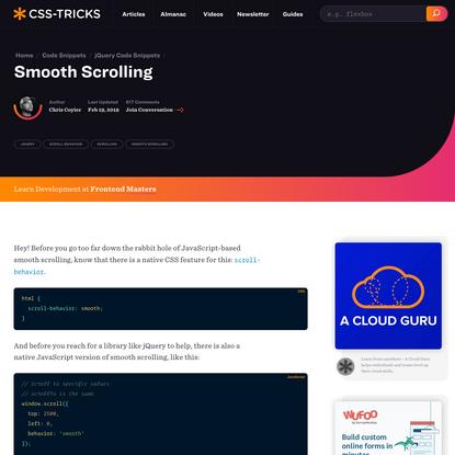 Smooth Scrolling   CSS-Tricks