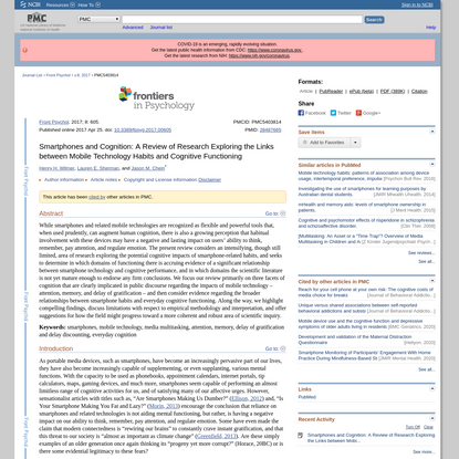 Smartphones and Cognition: A Review of Research Exploring the Links between Mobile Technology Habits and Cognitive Functioning