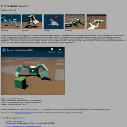Evolved Virtual Creatures by Karl Sims, 1994