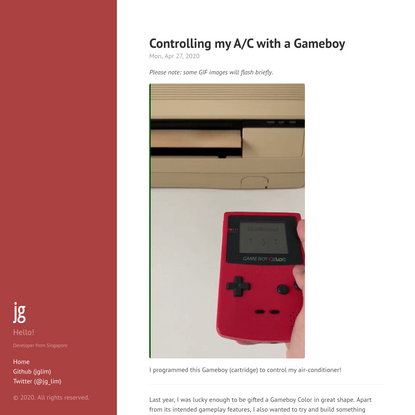 Controlling my A/C with a Gameboy