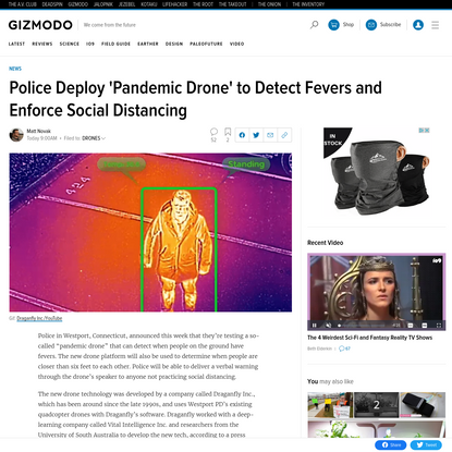 Police Deploy 'Pandemic Drone' to Detect Fevers and Enforce Social Distancing