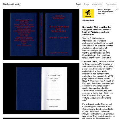 Non-verbal Club provides the design for Yehuda E. Safran's book on Portuguese art and architecture - The Brand Identity