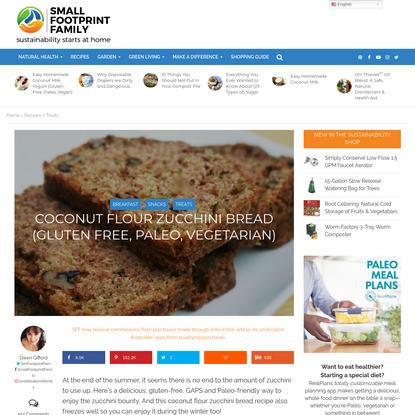 Coconut Flour Zucchini Bread (Paleo, Gluten Free, Vegetarian)