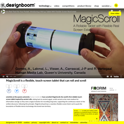 MagicScroll is a flexible, touch-screen tablet that can roll and scroll