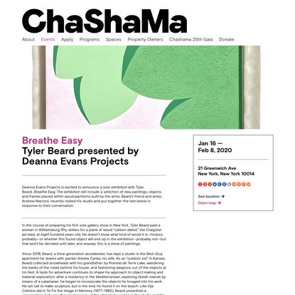 Breathe Easy - Tyler Beard presented by Deanna Evans Projects | Chashama