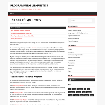 The Rise of Type Theory